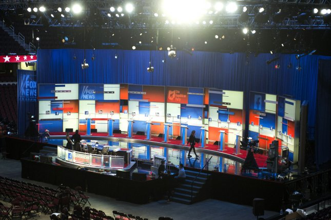 The debate hall is seen prior to the Republican presidential debate Thursday in Cleveland. Seven Republican candidates who didn't qualify for the main debate squared off early Thursday. Photo by Kevin Dietsch/UPI