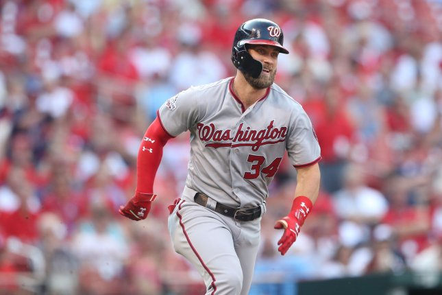 Former Washington Nationals slugger Bryce Harper's deal is for 13 years and includes a no-trade clause and does not include any opt-outs. File Photo by Bill Greenblatt/UPI