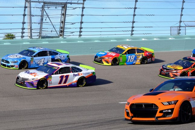 Denny Hamlin (11), Kevin Harvick (4), Kyle Busch (18) and Matrtin Truex Jr. (19) will be among the drivers in the field for the Cup Series race Sunday at Darlington Raceway in Darlington, S.C.File Photo By Gary I Rothstein/UPI
