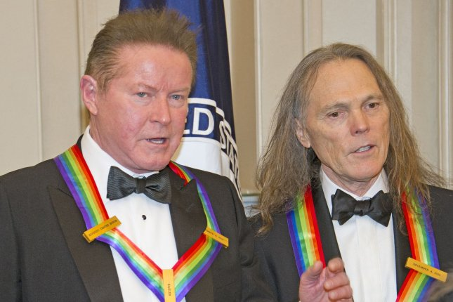 Don Henley (L) and Timothy B. Schmidt of Eagles at the 39th Annual Kennedy Center Honors in December 3, 2016. The band has added more dates to their 2021 tour. Pool photo by Ron Sachs/UPI