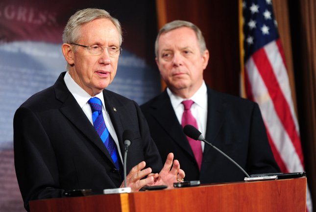 Senate Majority Leader Hary Reid (D-NV) (L) and Assistant Majority Leader Richard Durbin (D-IL) speak on the jobs bill during a press conference in Washington, D.C. on October 5, 2011. UPI/Kevin Dietsch