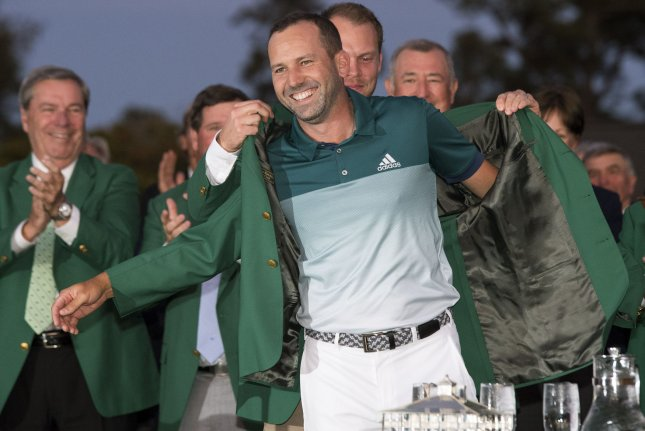The green jacket awarded to Masters champions like Sergio Garcia is not to leave the grounds of Augusta National. But one mysteriously turned up in a thrift store. Now the myster behind it may be solved. Photo by Kevin Dietsch/UPI