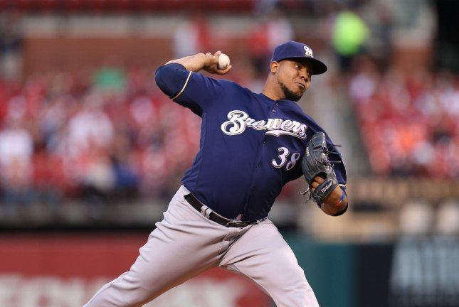 Milwaukee Brewers starting pitcher Wily Peralta delivers a pitch. File photo by Bill Greenblatt/UPI