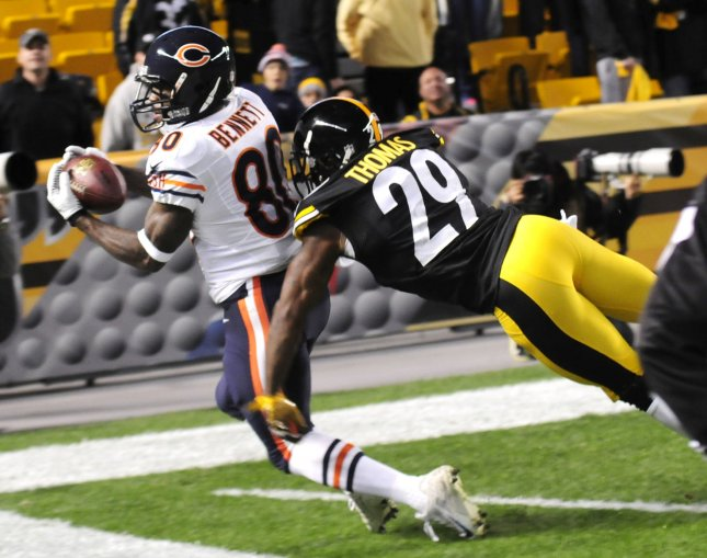 Former Pittsburgh Steelers safety Shamarko Thomas (29) attempts to make a tackle during a game against the Chicago Bears in 2013. File photo by Archie Carpenter/UPI