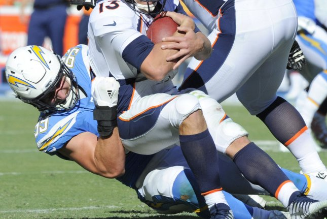 Los Angeles Chargers linebacker Joey Bosa could miss some time with an injured foot. Photo by Lori Shepler/UPI