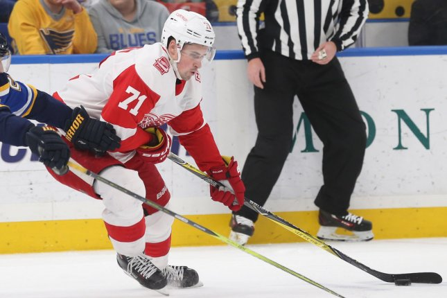Dylan Larkin and the Detroit Red Wings face the Arizona Coyotes on Tuesday. Photo by Bill Greenblatt/UPI
