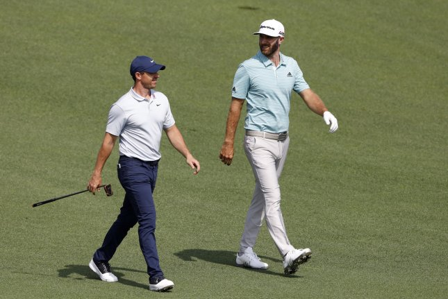 Rory McIlroy (L) and Dustin Johnson (R) will be partners at the TaylorMade Driving Relief skins competition on May 17 at Seminole Golf Club in Juno Beach, Fla. File Photo by John Angelillo/UPI