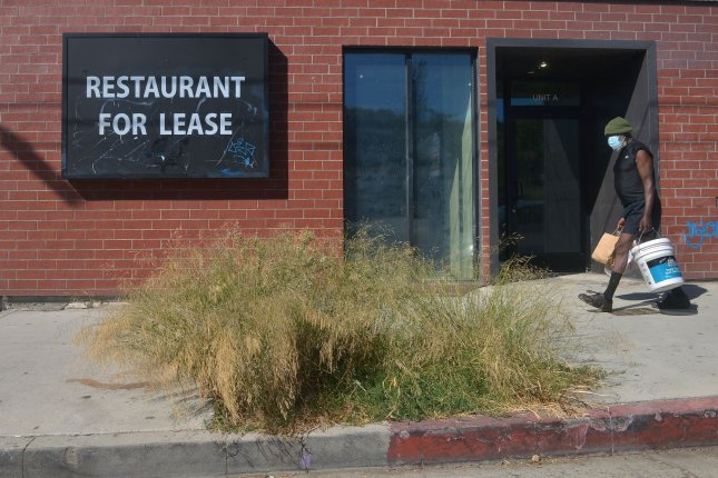 A shuttered restaurant is seen on Sunset Boulevard in the Echo Park neighborhood of Los Angeles, Calif., on August 10. Many similar businesses nationwide have been forced to close by the COVID-19 pandemic. File Photo by Jim Ruymen/UPI