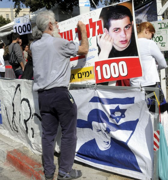 Israelis mark 1,000 days of captivity for abducted Israeli soldier Gilad Shalit at a protest tent outside Israeli Prime Minister Ehud Olmert's residence in Jerusalem, March 21, 2009. Saturday marks 1,000 days since Israeli soldier Gilad Shalit was abducted by Palestinian militants from Gaza in a cross border raid in June 2006. Exiled Hamas leader Moussa Abu Marzouk said today that the militant group would like to reach a prisoner exchange as quickly as possible. (UPI Photo/Debbie Hill)