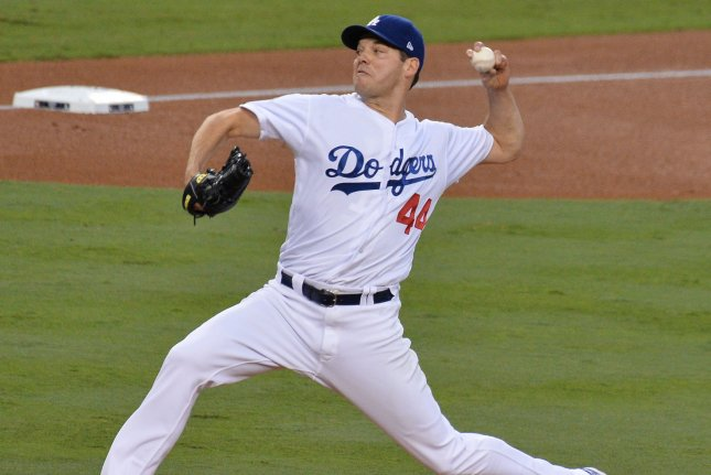 Los Angeles Dodgers starting pitcher Rich Hill throws against the Houston Astros in the first inning of the 2017 MLB World Series in Game 6 on October 31, 2017 at Dodger Stadium in Los Angeles. Photo by Jim Ruymen/UPI