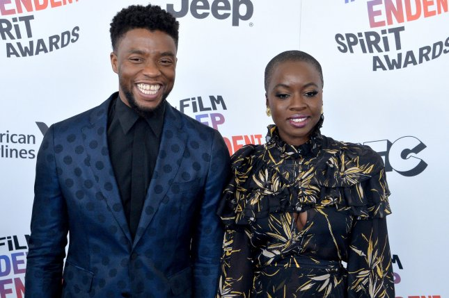 Black Panther and Avengers: Infinity War stars Chadwick Boseman (L) and Danai Gurira. Both stars are nominated for a People's Choice Award. File Photo by Jim Ruymen/UPI