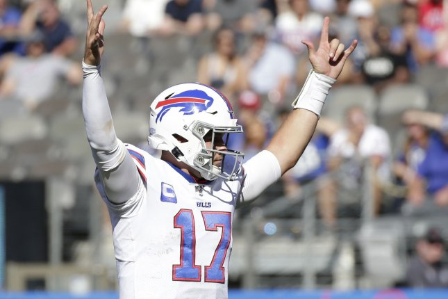 Buffalo Bills quarterback Josh Allen is a great fantasy football streaming option in Week 7 against the Miami Dolphins. Photo by John Angelillo/UPI