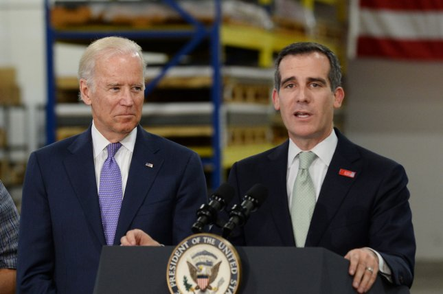 Los Angeles Mayor Eric Garcetti (R) endorsed Joe Biden for president on Thursday while the former vice president was in California for a campaign fundraiser. Photo by Jim Ruymen/UPI