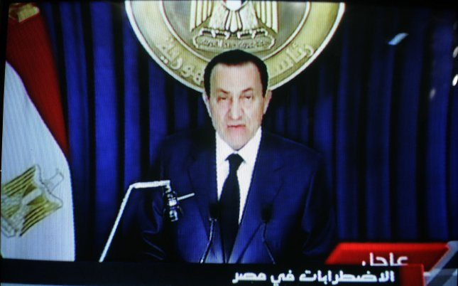 An image grab taken from Egyptian state television Al-Masriya shows Egypt's President Hosni Mubarak speaking to the nation in Cairo, on February 1, 2011. UPI/Ismael Mohamad