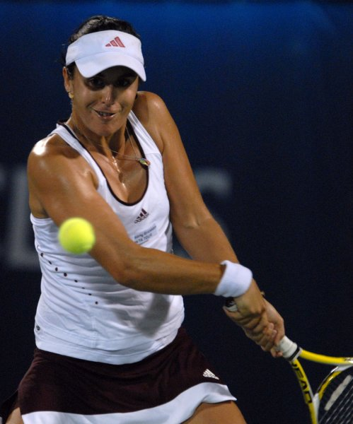 Anabel Medina Garrigues, shown here in a tournament earlier this year, claimed a first-round win Monday in a tournament in France.