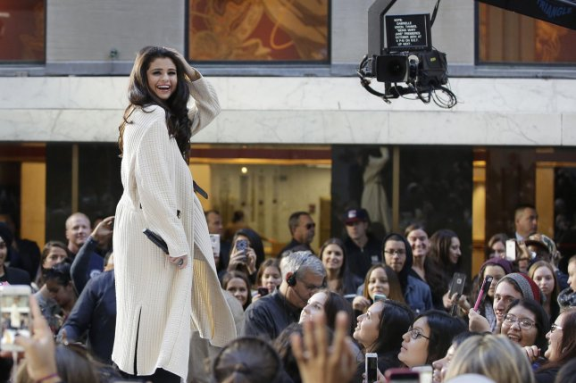 Selena Gomez smiles when she performs on NBC's Today show at Rockefeller Center in New York City on Oct. 12, 2015. Photo by John Angelillo/UPI
