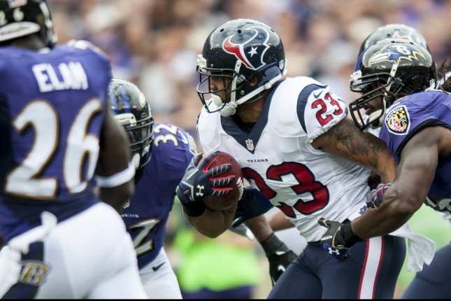 Former Houston Texans' running back Arian Foster. UPI/Pete Marovich