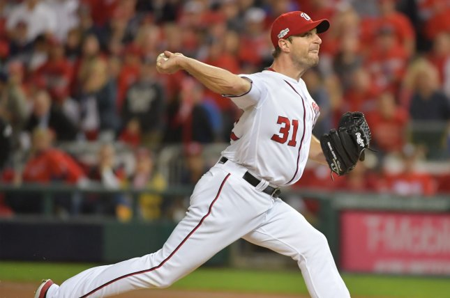 Washington Nationals starting pitcher Max Scherzer throws against the Los Angeles Dodgers during the first inning. File photo by Kevin Dietsch/UPI