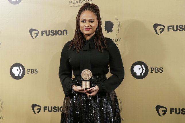 Ava DuVernay arrives in the press room with an award at the 76th Annual Peabody Awards on May 20 in New York City. DuVernay is working on a limited series about the young men who were wrongfully convicted of raping and beating a Central Park jogger in 1989. File Photo by John Angelillo/UPI