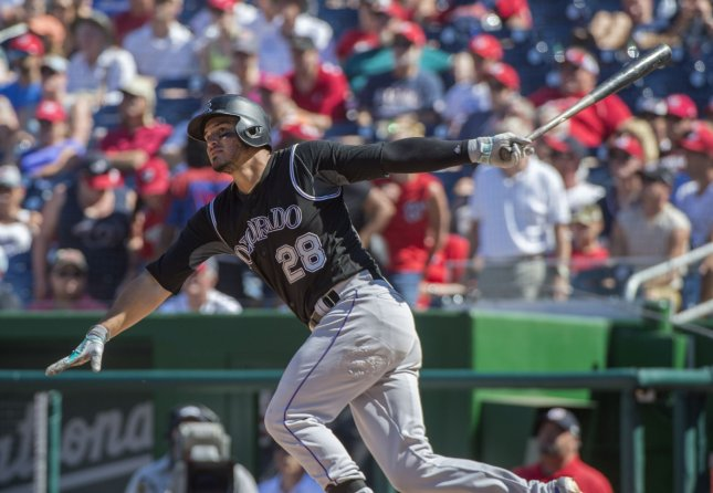 Nolan Arenado got past the New York Mets in a close one Thursday. Photo by Pat Benic/UPI