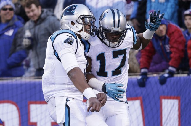 Carolina Panthers Cam Newton celebrates with Devin Funchess after they hook up for 14 yard touchdown in the second quarter against the New York Giants at MetLife Stadium in East Rutherford, New Jersey. File photo by John Angelillo/UPI