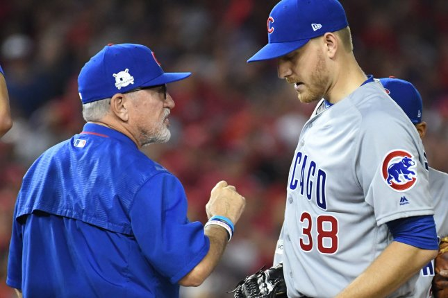 Chicago Cubs manager Joe Maddon speaks with relief pitcher Mike Montgomery (38). File photo by Pat Benic/UPI