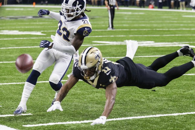 Los Angeles Rams defensive back Nickell Robey-Coleman (23) hits New Orleans Saints wide receiver Tommylee Lewis (11) prior to the ball arriving in the second half of the NFC Championship on January 20 at the Superdome in New Orleans. Robey-Coleman was fined for the controversial hit. Photo by Mark Wallheiser/UPI