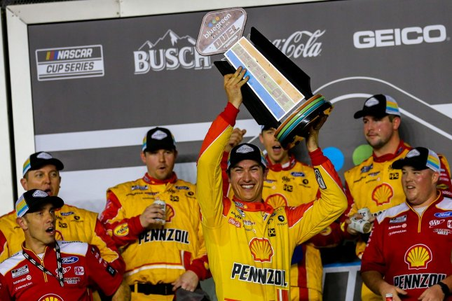 Joey Logano will start in the No. 3 spot at the 2020 Daytona 500 after winning Bluegreen Vacations Duel No. 1 Thursday at Daytona International Speedway in Daytona Beach, Fla. Photo by Mike Gentry/UPI
