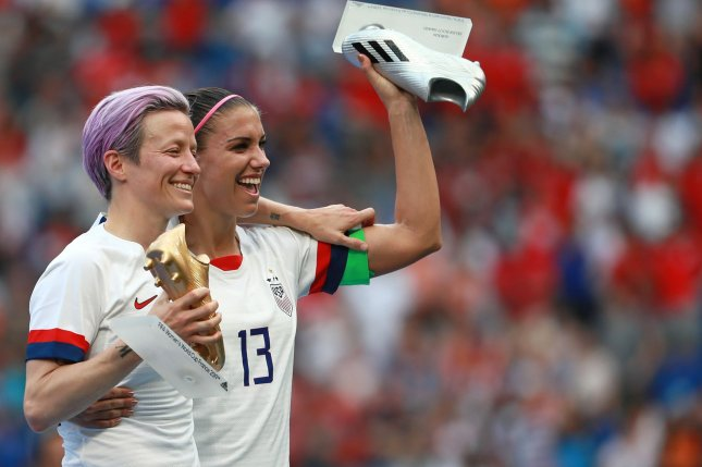 United States Women's National team stars Megan Rapinoe (L) and Alex Morgan (R) are two of four class representatives for women's players in an equal pay lawsuit against the United States Soccer Federation. File Photo by David Silpa/UPI