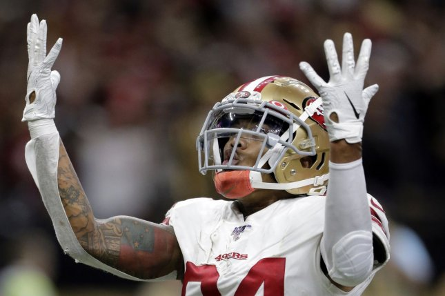 San Francisco 49ers wide receiver Kendrick Bourne has tested positive for COVID-19. File Photo by AJ Sisco/UPI
