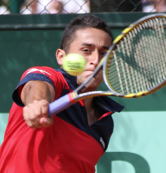 Nicolas Almagro, shown playing in last year's French Open, was given the lead-off position for Spain in a best-of-five Davis Cup quarterfinals series against Austria. The series begins Friday. UPI/David Silpa