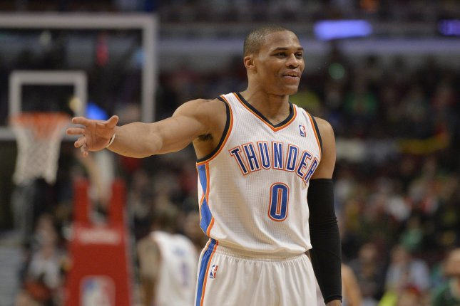 Russell Westbrook scored 45 points in Oklahoma City's 109-98 victory over the Dallas Mavericks on Thursday, but the Thunder lost Enes Kanter to a fractured right forearm. File Photo by Brian Kersey/UPI