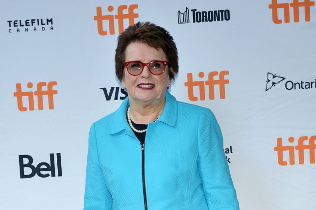 Billie Jean King arrives at the Toronto International Film Festival premiere of Battle of the Sexes at Ryerson Theatre in Toronto, Canada, on September 10. On September 20, 1973, the tennis icon defeated Bobby Riggs in a Battle of the Sexes tennis match. Photo by Christine Chew/UPI