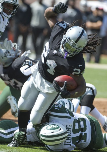 Marshawn Lynch and the Oakland Raiders take on the Philadelphia Eagles on Monday night. Photo by Terry Schmitt/UPI