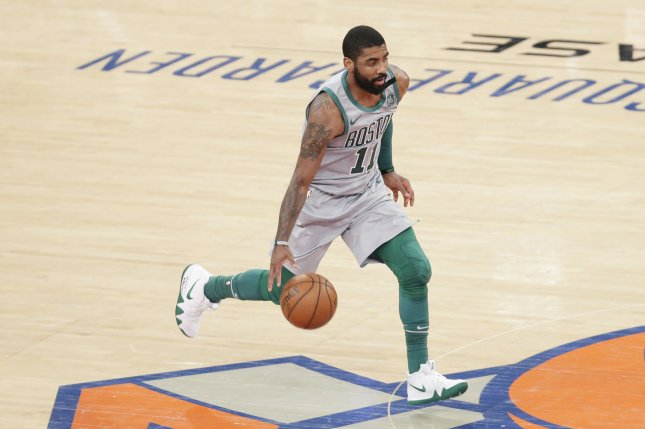 Point guard Kyrie Irving has spent the last two seasons with the Boston Celtics. File Photo by John Angelillo/UPI