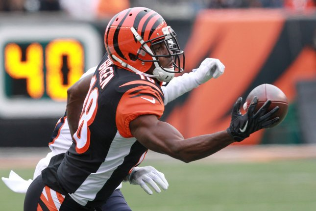Cincinnati Bengals wide receiver A.J. Green ranks fourth in receiving yards (8,907) since entering the NFL. File Photo by John Sommers II/UPI