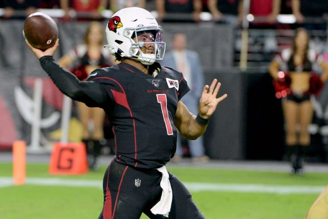 Arizona Cardinals quarterback Kyler Murray had three passing scores and a rushing touchdown in a win over the Seattle Seahawks on Sunday in Glendale, Ariz. File Photo by Art Foxall/UPI