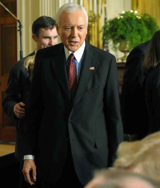 Sen. Orrin Hatch, R-UT, arrives before U.S. President Barack Obama signs an executive order and presidential memorandum clearing the way for federal funding of stem cell research in the East Room of the White House on March 9, 2009. (UPI Photo/Roger L. Wollenberg)
