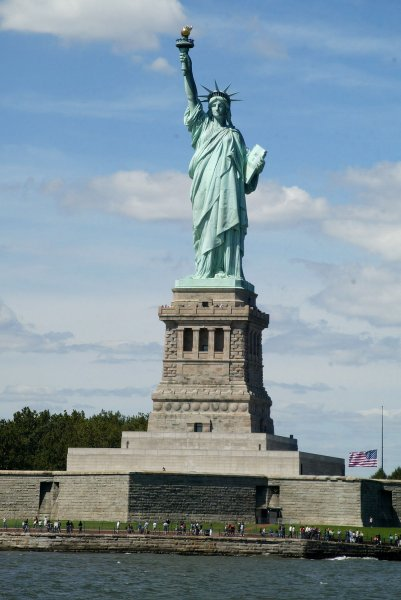 The Statue of Liberty as seen from the Hudson River in New York on September 11, 2006. (UPI Photo/Laura Cavanaugh)