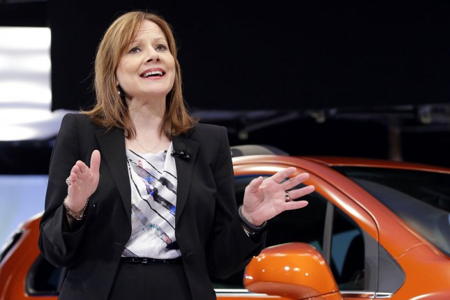 General Motors GM Company CEO Mary Barra at a Chevrolet press event as part of the New York International Auto Show in New York City on April 15, 2014. UPI/John Angelillo
