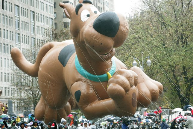 A gust of wind knocks around the Scooby-Doo float as it is passes through Columbus Circle during the 80th Macy's Thanksgiving Day parade on Nov. 23, 2006, in New York City. Photo by Monika Graff/UPI