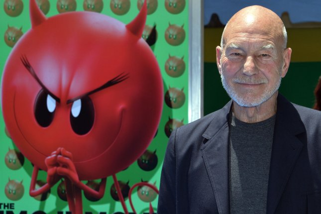 Cast member Patrick Stewart, the voice of Poop in the animated comedy The Emoji Movie, attends the premiere of the film in Los Angeles on July 23, 2017. The film won several awards at the Razzies Saturday. File Photo by Jim Ruymen/UPI