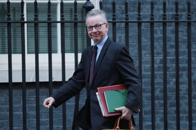Michael Gove said Tuesday that the European Union is refusing to negotiate a new Brexit deal with Britain. Photo by Hugo Philpott/UPI