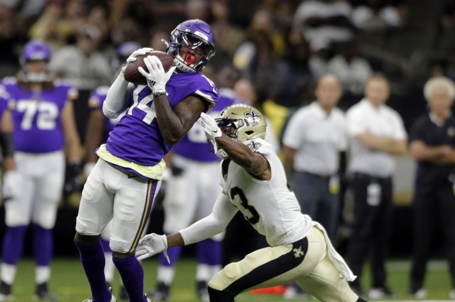 Minnesota Vikings wide receiver Stefon Diggs (14) missed Wednesday's practice and was limited Thursday and Friday with a hamstring injury. File Photo by AJ Sisco/UPI