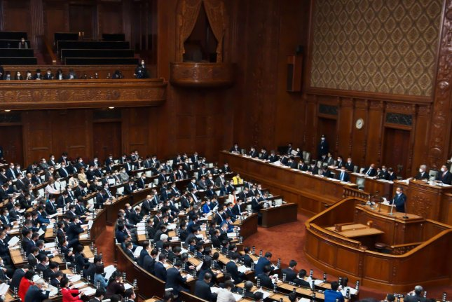 Japan's Prime Minister Yoshihide Suga delivers a policy speech in his first parliamentary policy speech on Monday. Photo by Keizo Mori/UPI