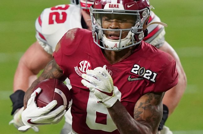 Former Alabama wide receiver DeVonta Smith is expected to be an early first-round pick in the 2021 NFL Draft. File Photo by Hans Deryk/UPI