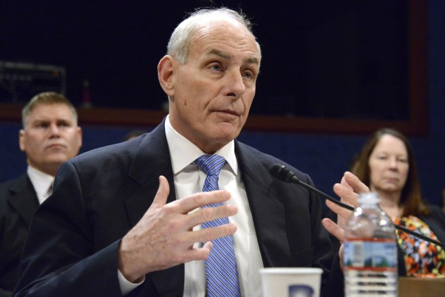 Homeland Security Secretary John F. Kelly makes remarks during House Homeland Security Committee hearings Tuesday on Capitol Hill in Washington, D.C. The panel heard testimony on Ending the Crisis: America's Borders and the Path to Security. Photo by Mike Theiler/UPI