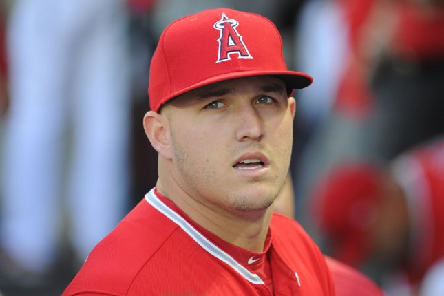 The Angels' Mike Trout was a late scratch because of tightness in his hamstring, but the Angels were able to rally to stop the surging Astros on Saturday night. File photo by Lori Shepler/UPI