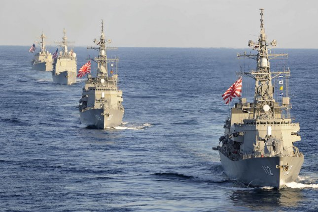 Japan's maritime self-defense force will deploy three warships (not pictured) to the South China Sea and the Indian Ocean. Photo by MC1 Michael Russell/U.S. Navy/UPI