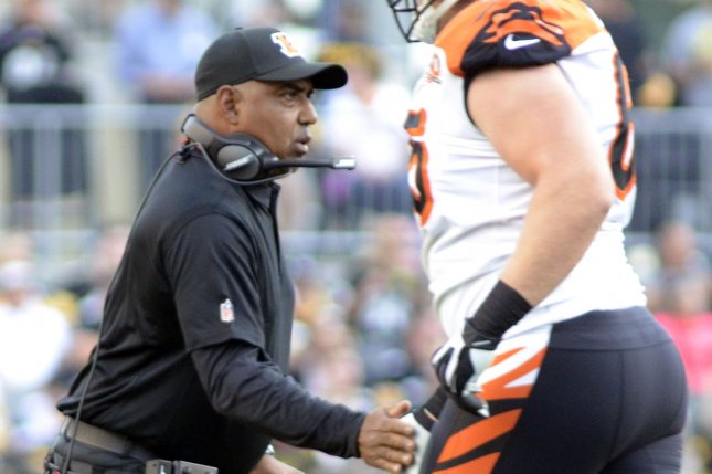 Cincinnati Bengals head coach Marvin Lewis celebrates his team touchdown in the second quarter at Heinz Field in Pittsburgh on October 22, 2017. Photo by Archie Carpenter/UPI
